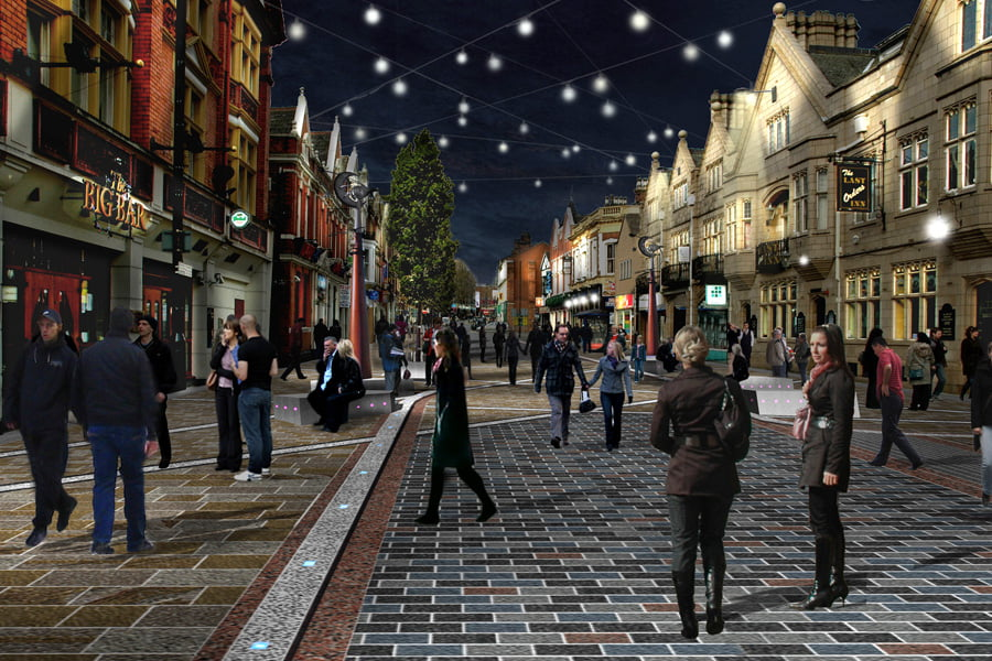Warrington Photomontage Bridge Street Nighttime