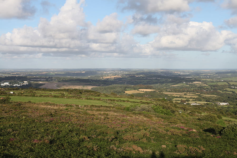 Panorama below Cornish clouds