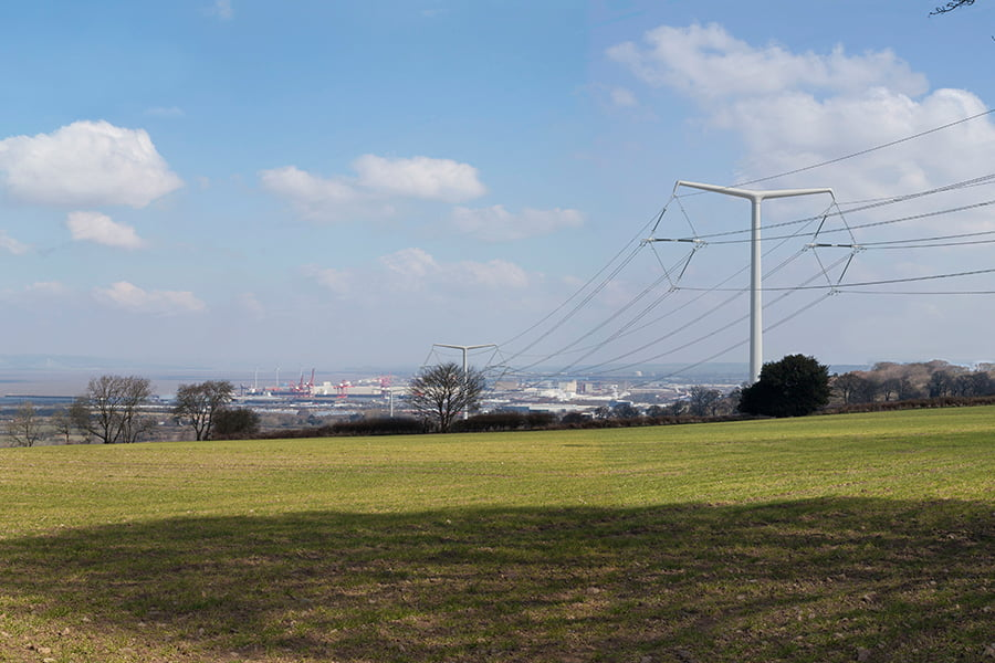 T-pylon visualisation at Tickenham Ridge