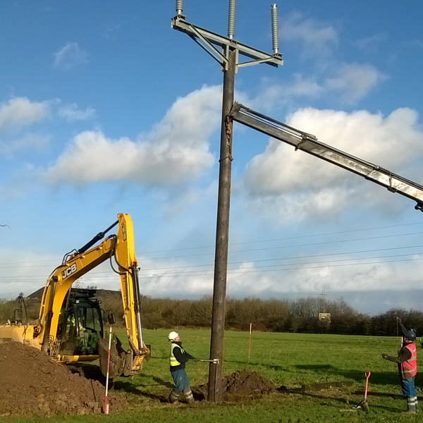 View of pole installation