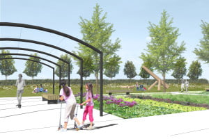 Sketch view of Fordham green open space