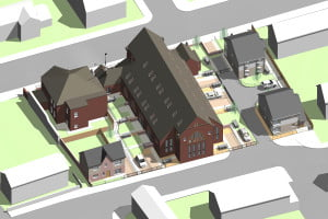 3D digital image of how the new development could look. Viewed from Alt ...