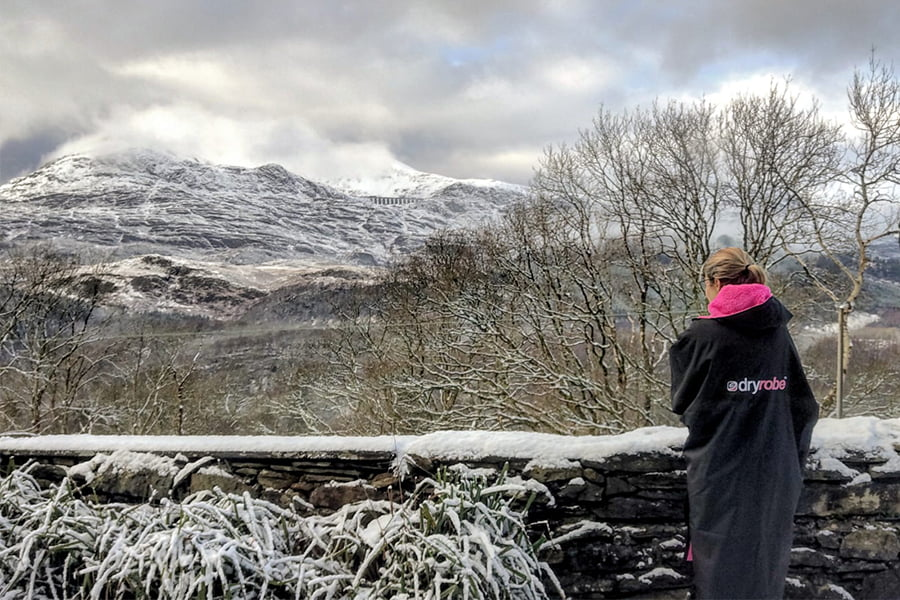 Katie wrapped up warm and looking at the views Snowdonia National Park has to offer!
