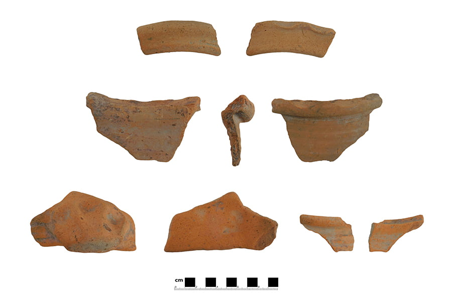Examples of the medieval pottery recovered from the roadside ditch